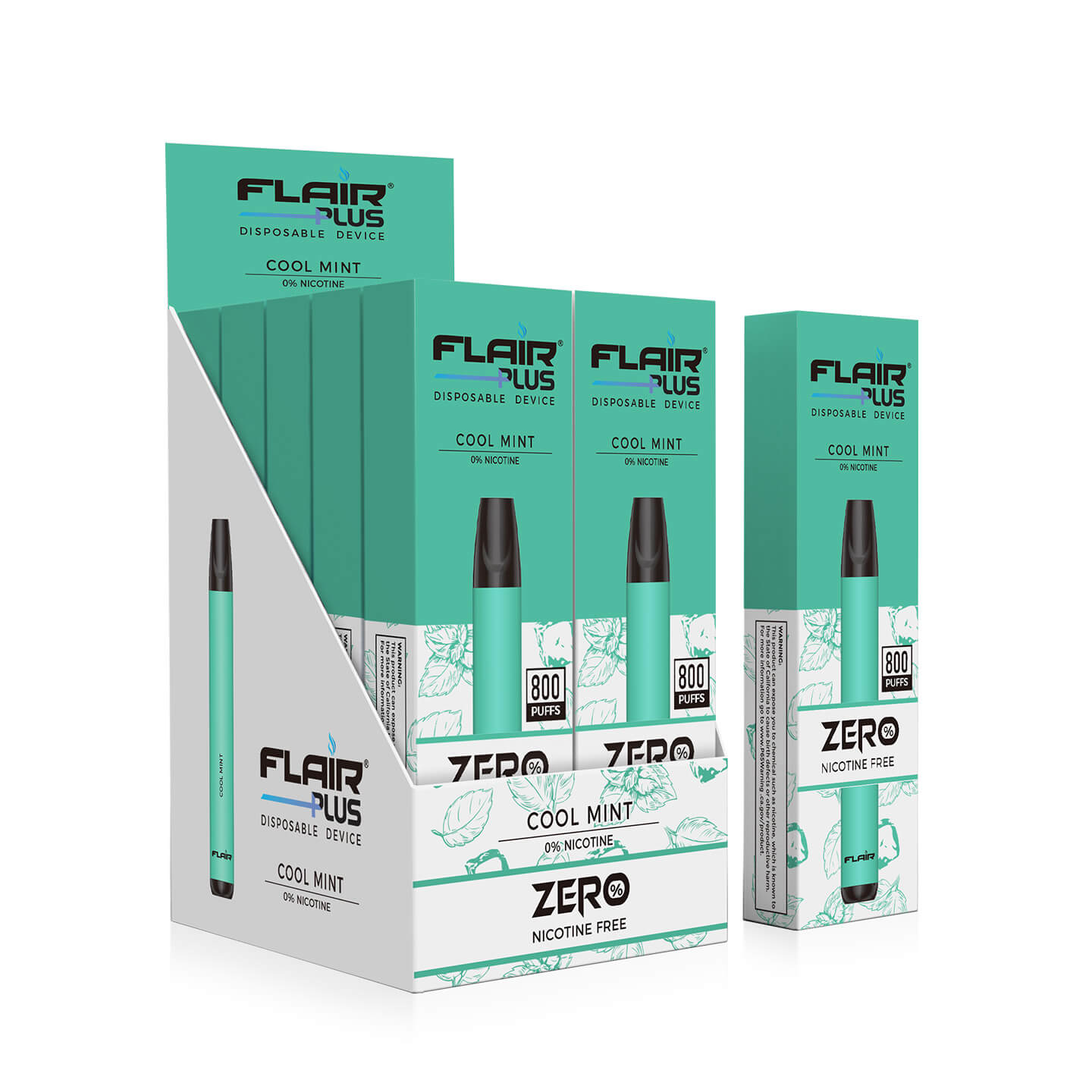 Box of flair disposable device zero nicotine cool mint