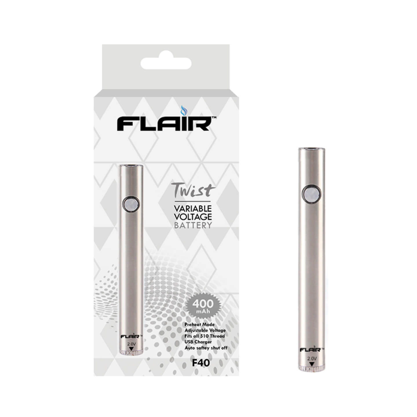 flair twist variable voltage battery 400mah silver F40