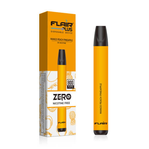 flair plus disposable device zero-nicotine mango peach pineapple